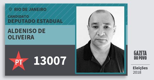 Santinho Aldeniso de Oliveira 13007 (PT) Deputado Estadual | Rio de Janeiro | Eleições 2018