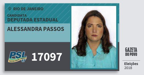 Santinho Alessandra Passos 17097 (PSL) Deputada Estadual | Rio de Janeiro | Eleições 2018