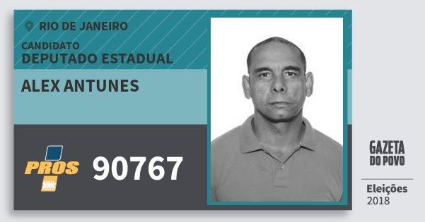 Santinho Alex Antunes 90767 (PROS) Deputado Estadual | Rio de Janeiro | Eleições 2018