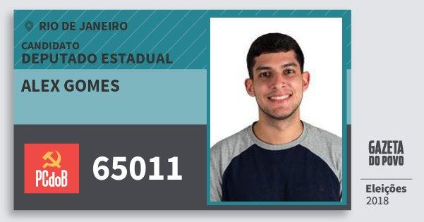 Santinho Alex Gomes 65011 (PC do B) Deputado Estadual | Rio de Janeiro | Eleições 2018