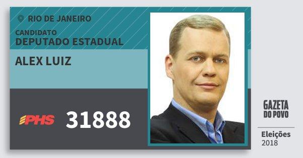 Santinho Alex Luiz 31888 (PHS) Deputado Estadual | Rio de Janeiro | Eleições 2018