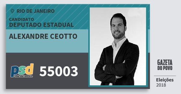 Santinho Alexandre Ceotto 55003 (PSD) Deputado Estadual | Rio de Janeiro | Eleições 2018