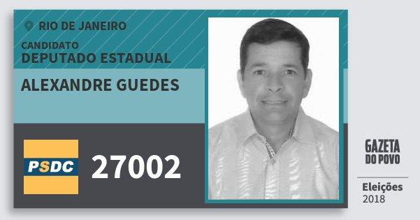 Santinho Alexandre Guedes 27002 (DC) Deputado Estadual | Rio de Janeiro | Eleições 2018