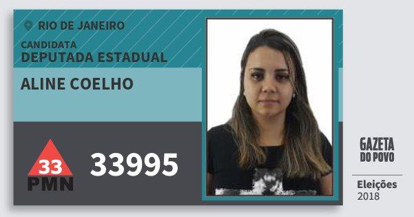 Santinho Aline Coelho 33995 (PMN) Deputada Estadual | Rio de Janeiro | Eleições 2018