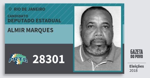 Santinho Almir Marques 28301 (PRTB) Deputado Estadual | Rio de Janeiro | Eleições 2018