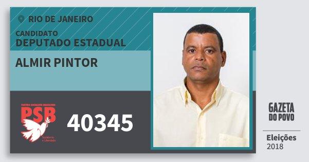 Santinho Almir Pintor 40345 (PSB) Deputado Estadual | Rio de Janeiro | Eleições 2018