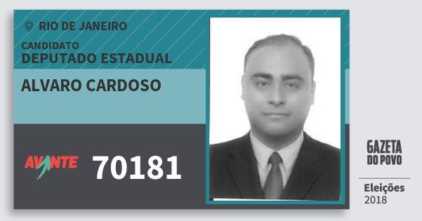 Santinho Alvaro Cardoso 70181 (AVANTE) Deputado Estadual | Rio de Janeiro | Eleições 2018