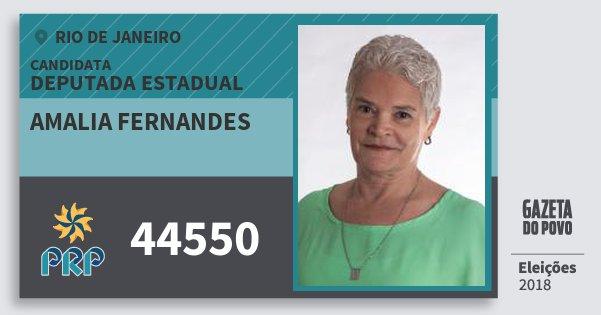 Santinho Amalia Fernandes 44550 (PRP) Deputada Estadual | Rio de Janeiro | Eleições 2018