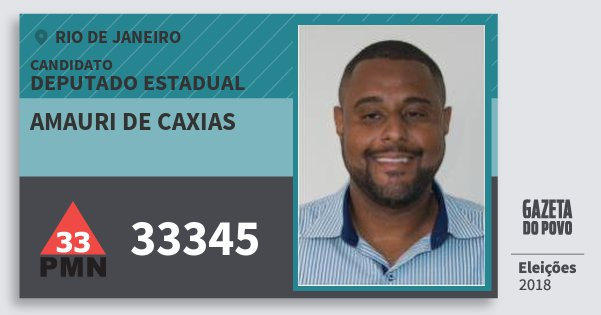 Santinho Amauri de Caxias 33345 (PMN) Deputado Estadual | Rio de Janeiro | Eleições 2018