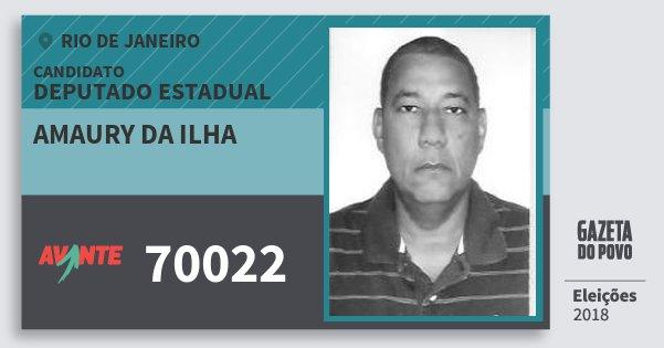 Santinho Amaury da Ilha 70022 (AVANTE) Deputado Estadual | Rio de Janeiro | Eleições 2018