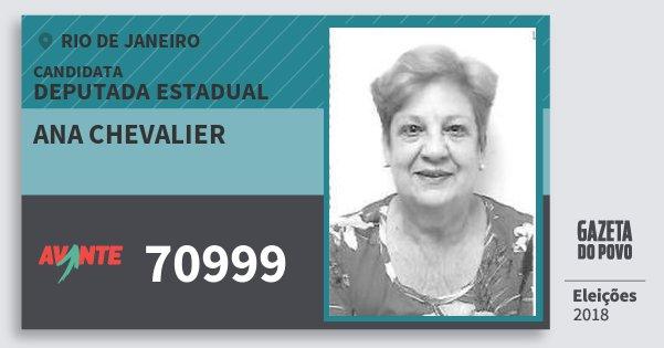 Santinho Ana Chevalier 70999 (AVANTE) Deputada Estadual | Rio de Janeiro | Eleições 2018