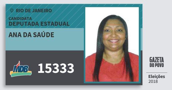 Santinho Ana da Saúde 15333 (MDB) Deputada Estadual | Rio de Janeiro | Eleições 2018