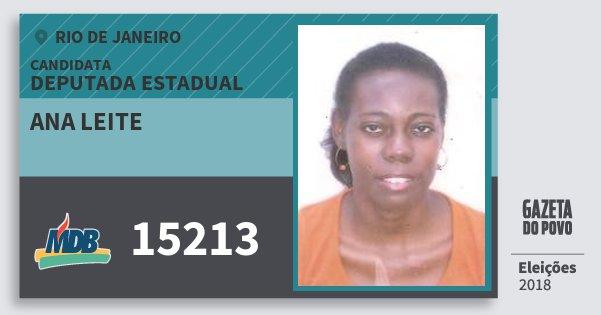 Santinho Ana Leite 15213 (MDB) Deputada Estadual | Rio de Janeiro | Eleições 2018