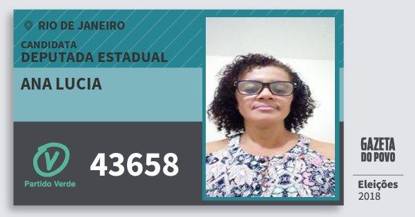 Santinho Ana Lucia 43658 (PV) Deputada Estadual | Rio de Janeiro | Eleições 2018