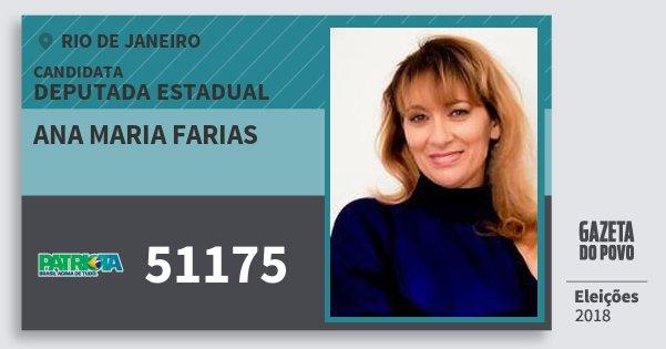 Santinho Ana Maria Farias 51175 (PATRI) Deputada Estadual | Rio de Janeiro | Eleições 2018
