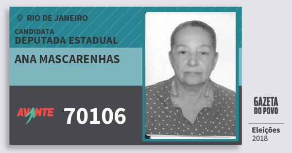 Santinho Ana Mascarenhas 70106 (AVANTE) Deputada Estadual   Rio de Janeiro   Eleições 2018