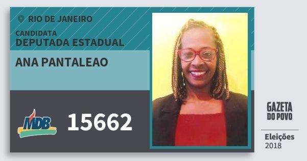 Santinho Ana Pantaleao 15662 (MDB) Deputada Estadual | Rio de Janeiro | Eleições 2018