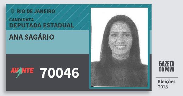 Santinho Ana Sagário 70046 (AVANTE) Deputada Estadual | Rio de Janeiro | Eleições 2018