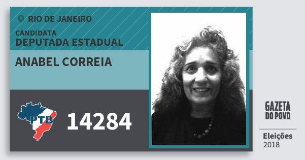 Santinho Anabel Correia 14284 (PTB) Deputada Estadual | Rio de Janeiro | Eleições 2018