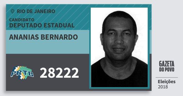 Santinho Ananias Bernardo 28222 (PRTB) Deputado Estadual | Rio de Janeiro | Eleições 2018