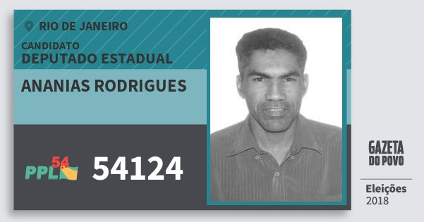 Santinho Ananias Rodrigues 54124 (PPL) Deputado Estadual | Rio de Janeiro | Eleições 2018