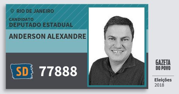 Santinho Anderson Alexandre 77888 (SOLIDARIEDADE) Deputado Estadual | Rio de Janeiro | Eleições 2018