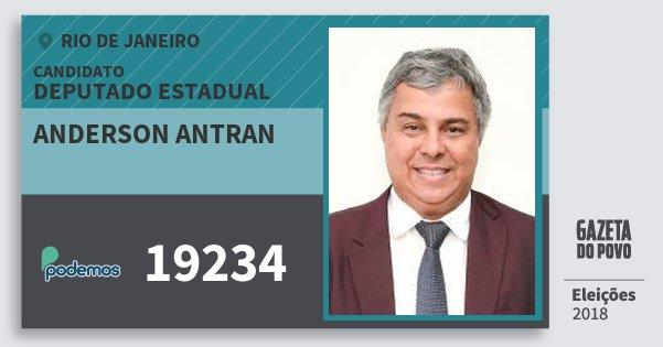 Santinho Anderson Antran 19234 (PODE) Deputado Estadual | Rio de Janeiro | Eleições 2018