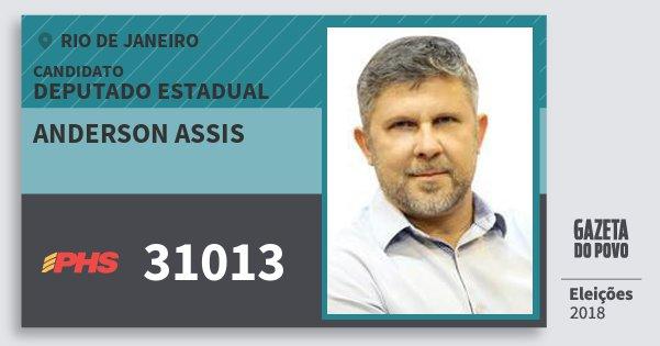 Santinho Anderson Assis 31013 (PHS) Deputado Estadual | Rio de Janeiro | Eleições 2018