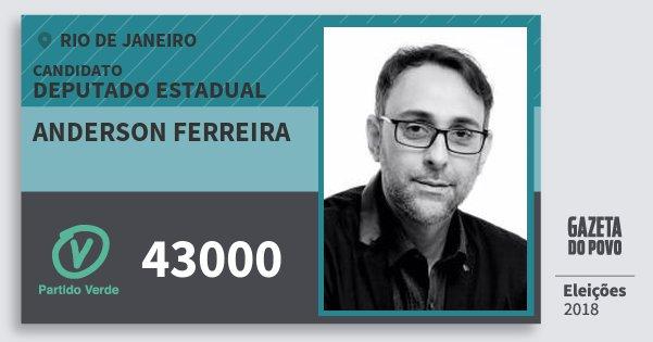 Santinho Anderson Ferreira 43000 (PV) Deputado Estadual | Rio de Janeiro | Eleições 2018