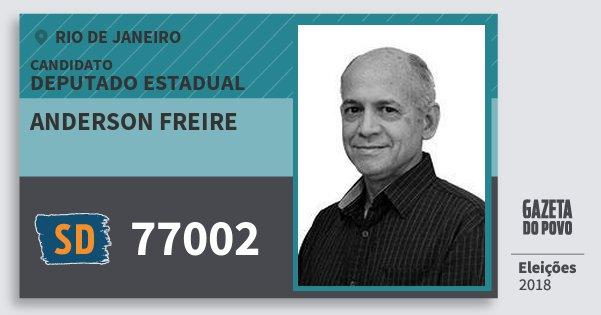 Santinho Anderson Freire 77002 (SOLIDARIEDADE) Deputado Estadual | Rio de Janeiro | Eleições 2018