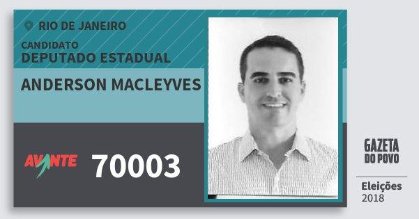 Santinho Anderson Macleyves 70003 (AVANTE) Deputado Estadual | Rio de Janeiro | Eleições 2018