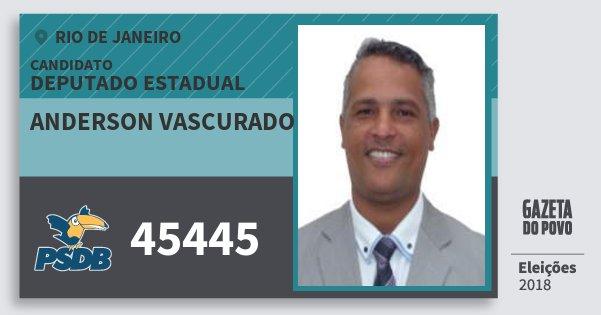 Santinho Anderson Vascurado 45445 (PSDB) Deputado Estadual | Rio de Janeiro | Eleições 2018