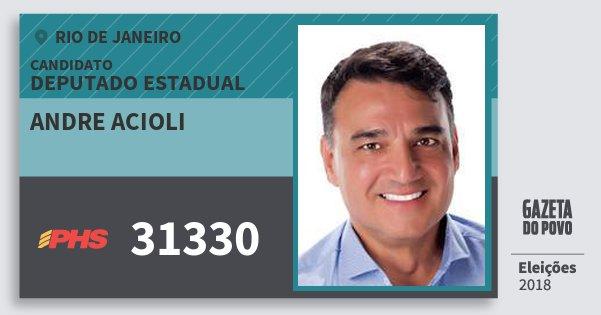 Santinho Andre Acioli 31330 (PHS) Deputado Estadual | Rio de Janeiro | Eleições 2018