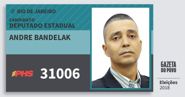 Santinho Andre Bandelak 31006 (PHS) Deputado Estadual | Rio de Janeiro | Eleições 2018