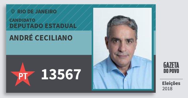 Santinho André Ceciliano 13567 (PT) Deputado Estadual | Rio de Janeiro | Eleições 2018