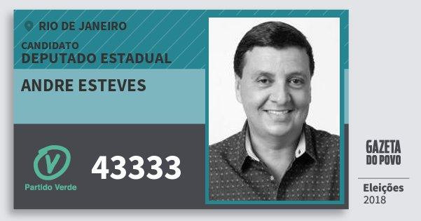 Santinho Andre Esteves 43333 (PV) Deputado Estadual | Rio de Janeiro | Eleições 2018