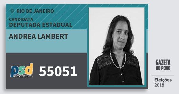 Santinho Andrea Lambert 55051 (PSD) Deputada Estadual | Rio de Janeiro | Eleições 2018