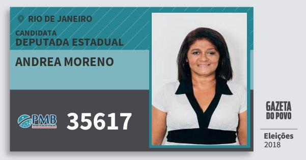 Santinho Andrea Moreno 35617 (PMB) Deputada Estadual | Rio de Janeiro | Eleições 2018