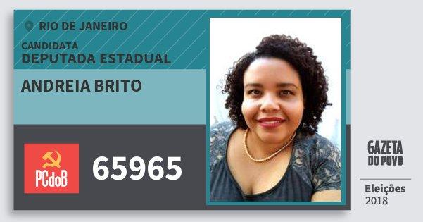Santinho Andreia Brito 65965 (PC do B) Deputada Estadual | Rio de Janeiro | Eleições 2018