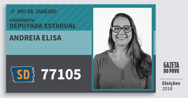 Santinho Andreia Elisa 77105 (SOLIDARIEDADE) Deputada Estadual | Rio de Janeiro | Eleições 2018