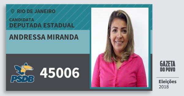 Santinho Andressa Miranda 45006 (PSDB) Deputada Estadual | Rio de Janeiro | Eleições 2018