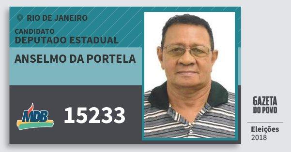 Santinho Anselmo da Portela 15233 (MDB) Deputado Estadual | Rio de Janeiro | Eleições 2018