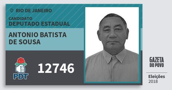 Santinho Antonio Batista de Sousa 12746 (PDT) Deputado Estadual | Rio de Janeiro | Eleições 2018