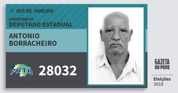 Santinho Antonio Borracheiro 28032 (PRTB) Deputado Estadual | Rio de Janeiro | Eleições 2018
