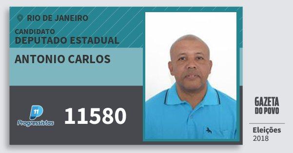 Santinho Antonio Carlos 11580 (PP) Deputado Estadual | Rio de Janeiro | Eleições 2018