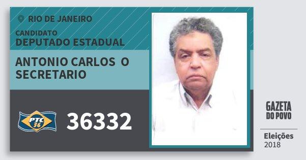 Santinho Antonio Carlos  O Secretario 36332 (PTC) Deputado Estadual | Rio de Janeiro | Eleições 2018