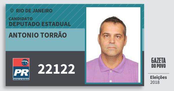 Santinho Antonio Torrão 22122 (PR) Deputado Estadual | Rio de Janeiro | Eleições 2018