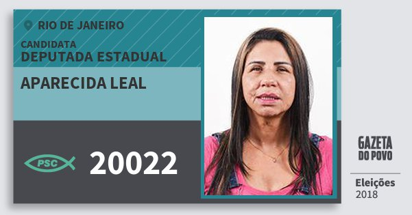 Santinho Aparecida Leal 20022 (PSC) Deputada Estadual | Rio de Janeiro | Eleições 2018