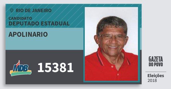 Santinho Apolinario 15381 (MDB) Deputado Estadual | Rio de Janeiro | Eleições 2018