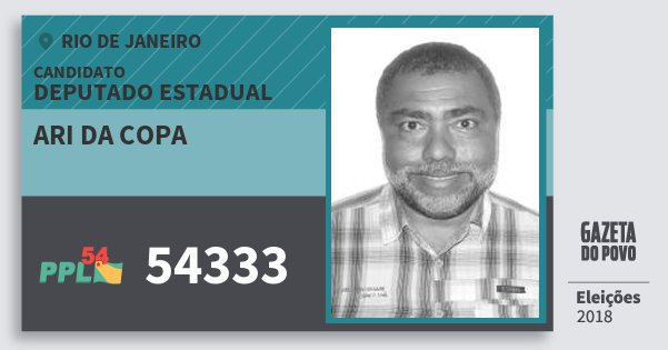 Santinho Ari da Copa 54333 (PPL) Deputado Estadual | Rio de Janeiro | Eleições 2018